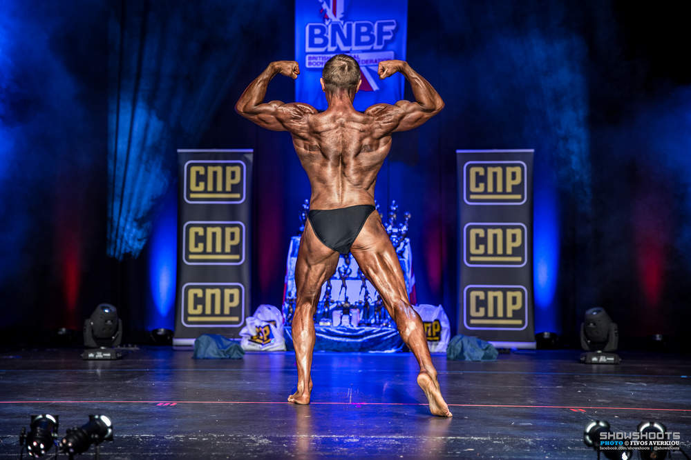 Jon competing in 2016. He has a thick waist like a typical endomorph. There is a relationship between somatotype and body fat accumulation