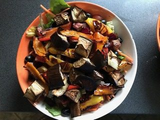 Salad with varied leaves, baked vegetables and various other salad ingredients. Love your vegetables