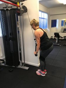 Cable triceps press down