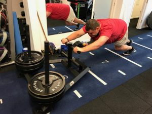 client performing sled push