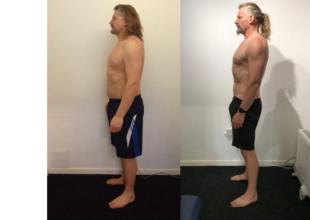 Before and after of an older client showing you're not too old to build muscle.