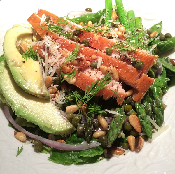 Salmon, avocado, pine nuts, oily dressing. Helathy, yes. Low-calorie, no! DO you eat like this and wonder why you're not losing weight? You might be health conscious, calorie unconscious