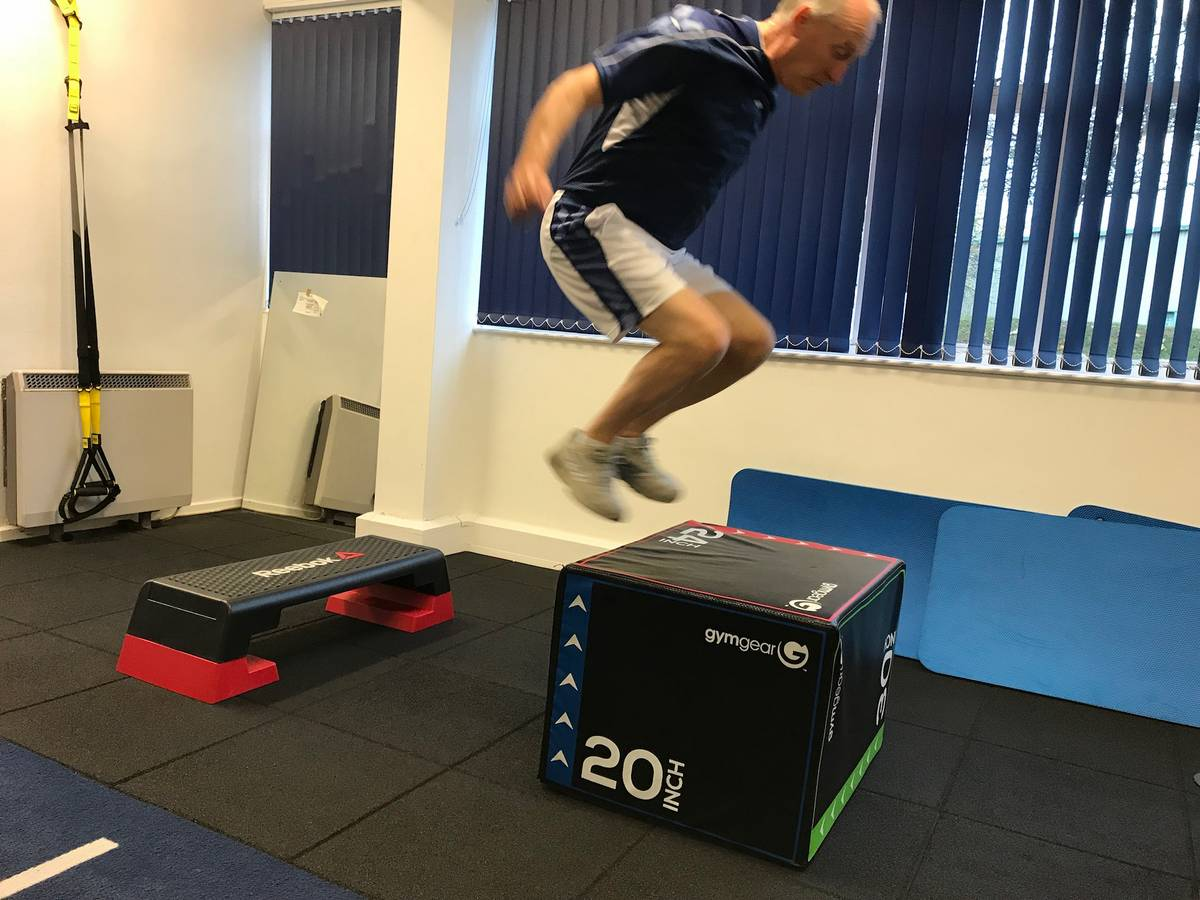 Life Force Fitness client Ray performing box jumps. We are putting the personal back into personal training!