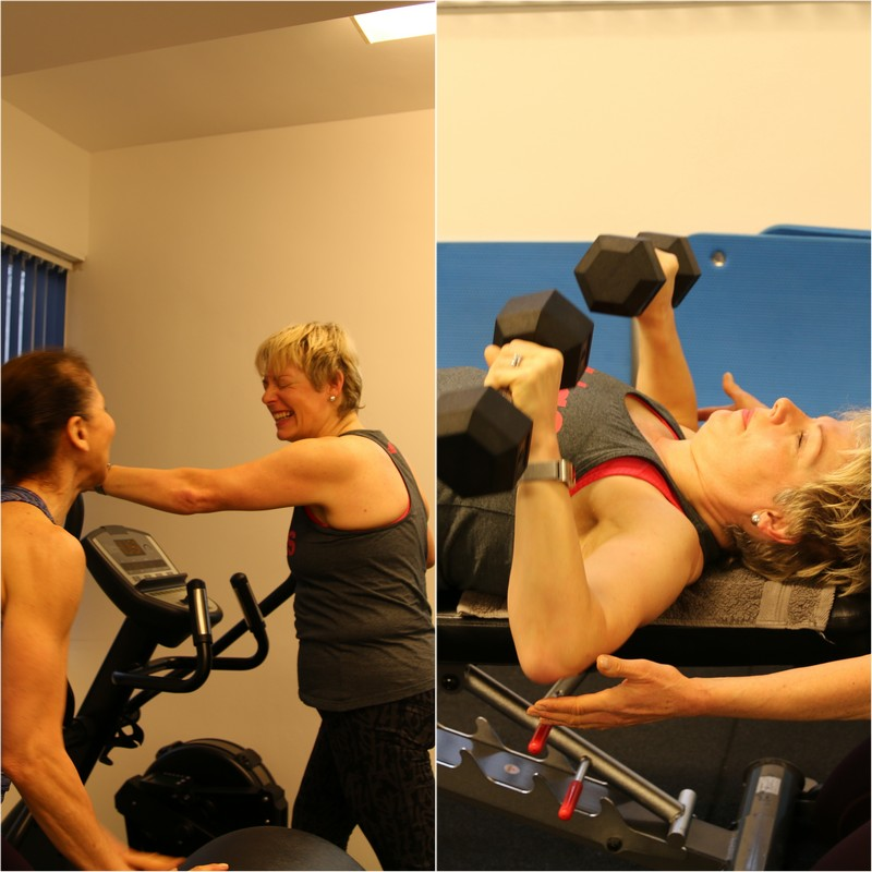 client performing both cardiovascular and resistance exercise