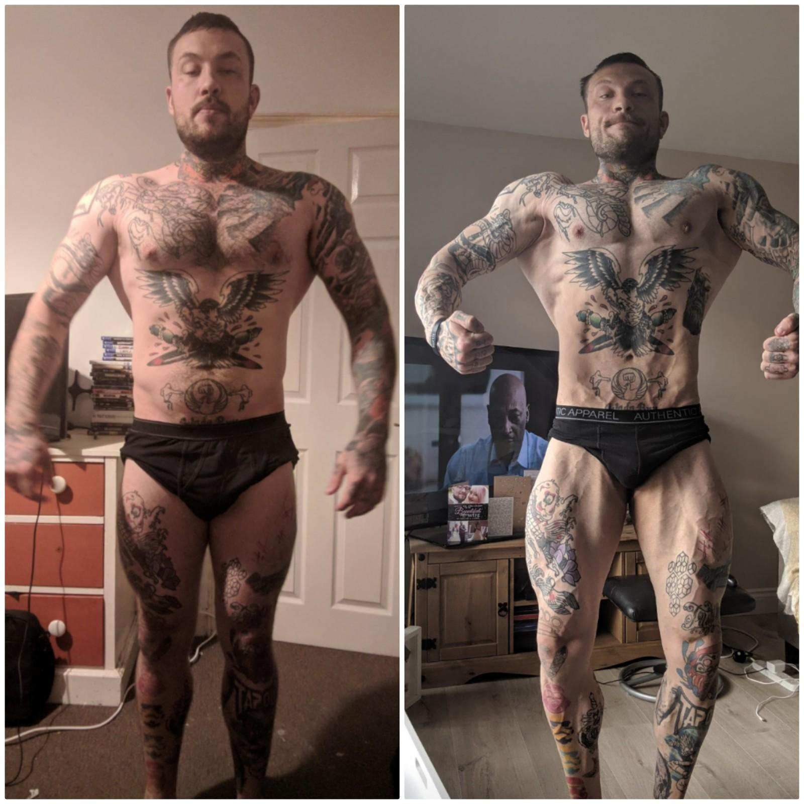 Coach Haydn with a before and after photo of his body recomposition