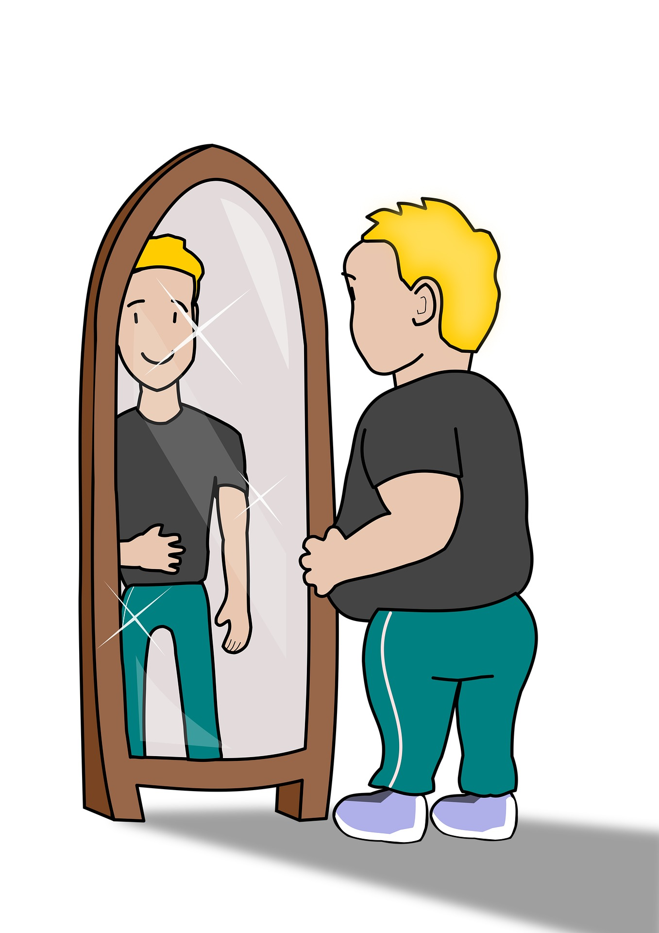 Cartoon of a man looking in the mirror seeing a slimmer version of himself
