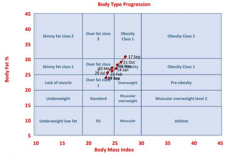 Body type chart for Adam Brown
