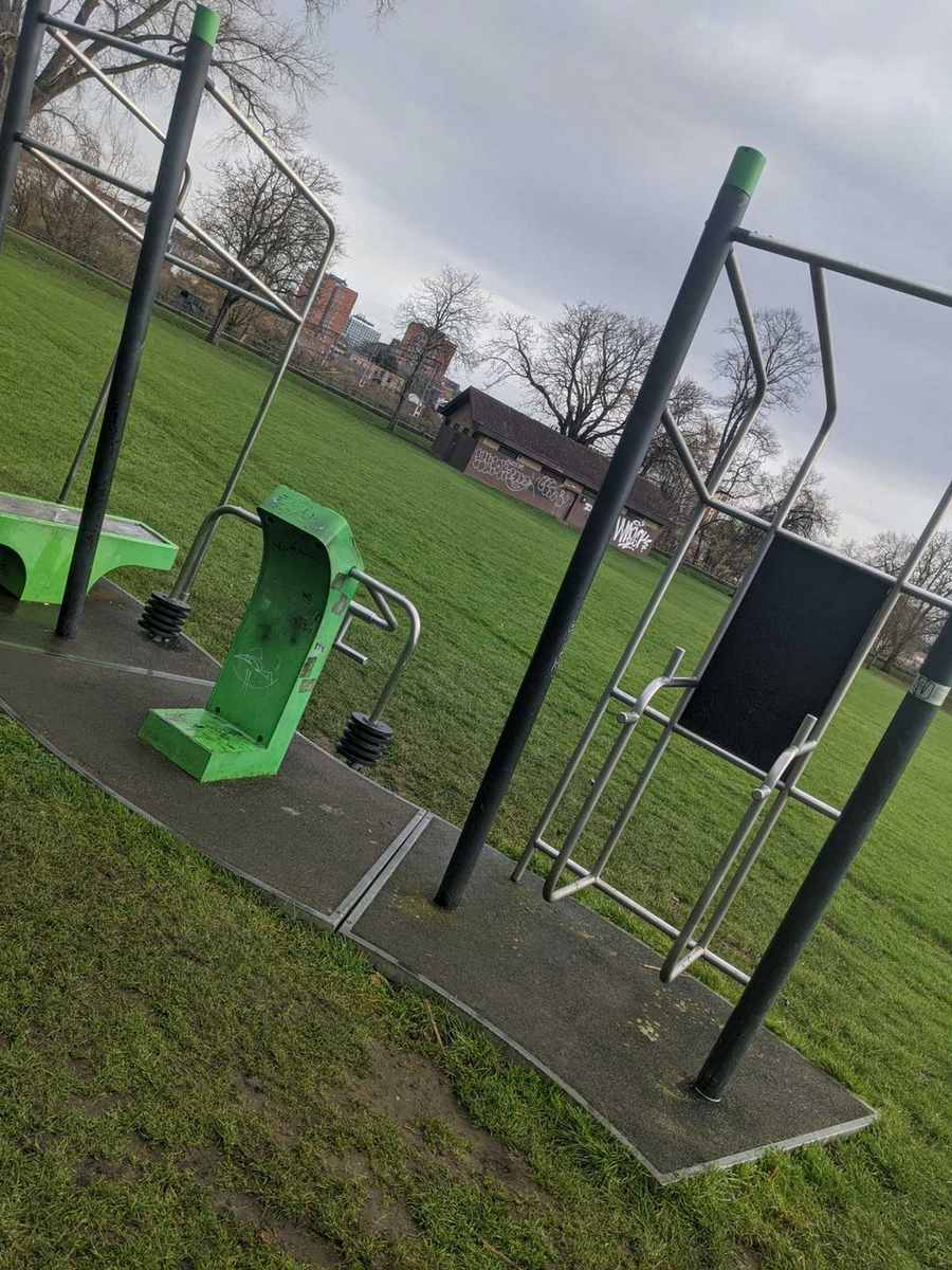 Exercise equipment from Victoria park, one of the best parks for exercise in Northampton