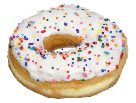 A doughnut is loaded with sugar
