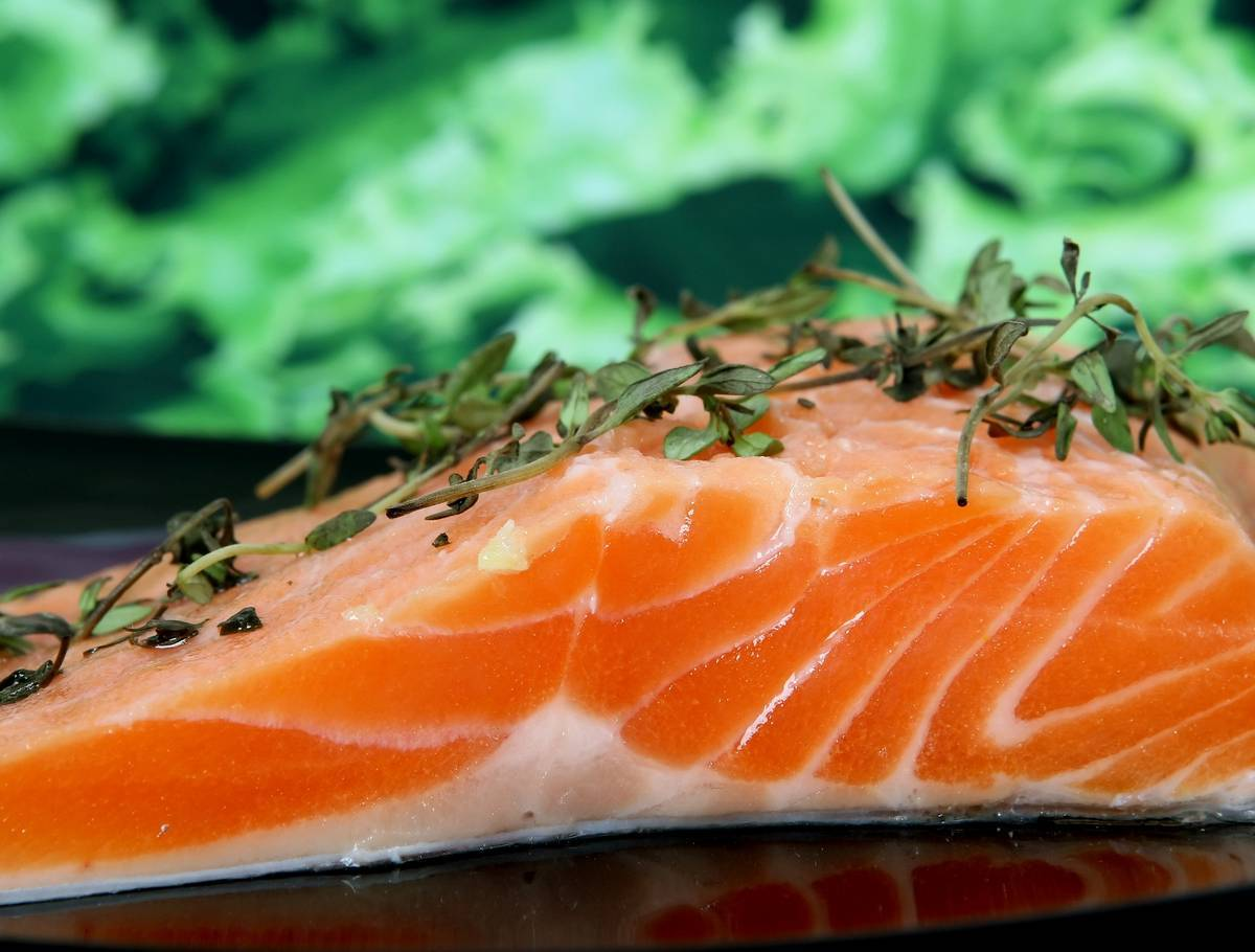 Close up of a piece of salmon. Ten steps to feeling better about yourself.