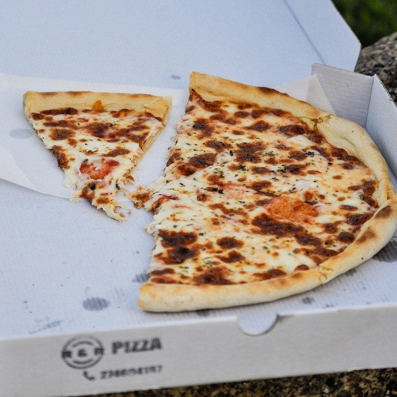 Takeaway pizza in a box