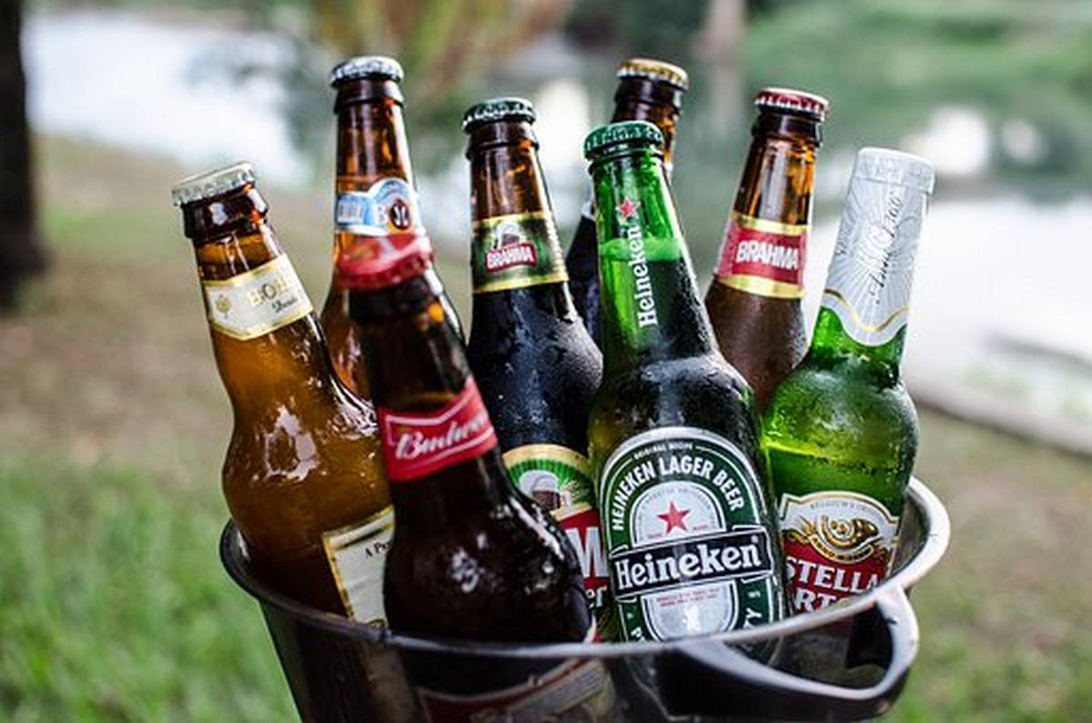 Bottles of beer chilling in an ice bucket