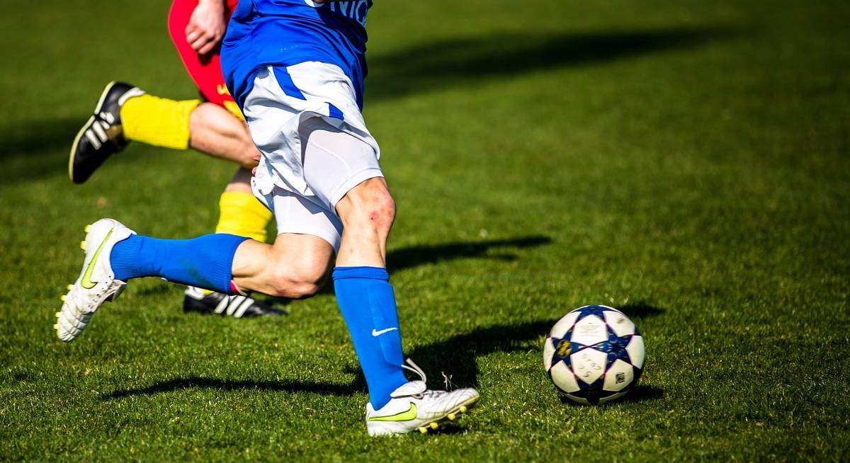 Close up of ball control in football.
