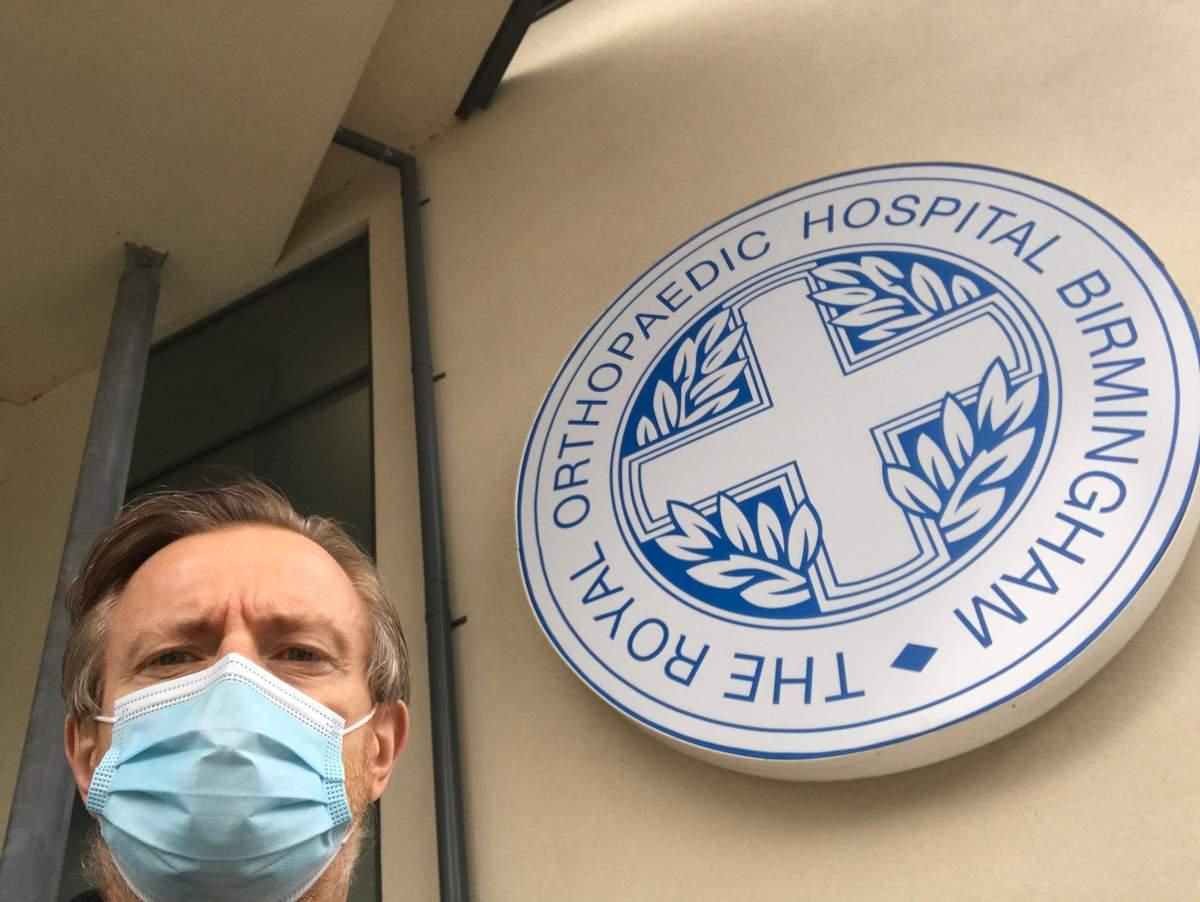 Jon outside the Royal Orthopaedic Hospital. Birmingham Hip Resurface