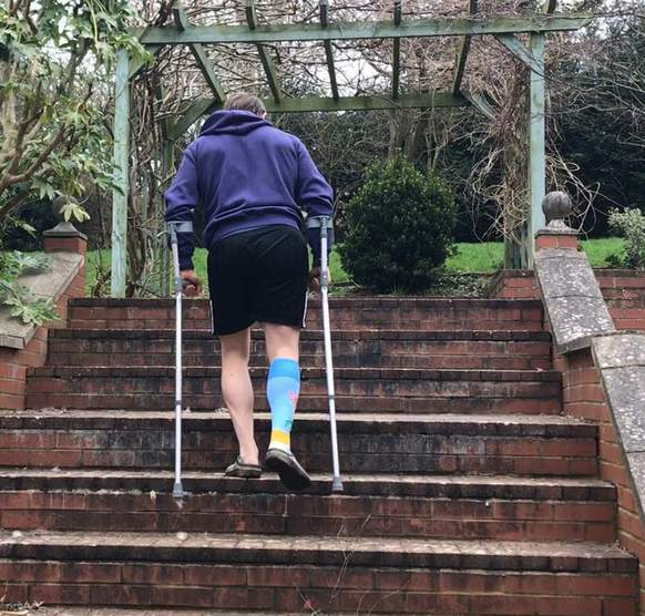 Walking up the steps in the garden two days post op. Birmingham Hip Resurface