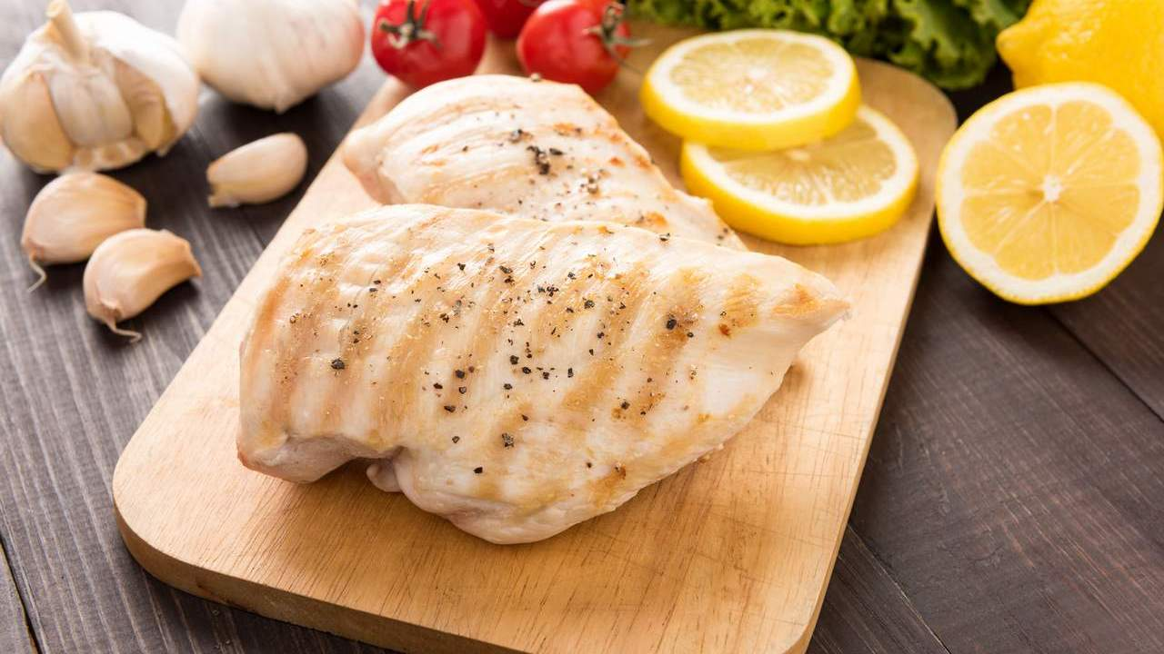 Cooked chicken breast. This kind of food is full of protein for weight loss success